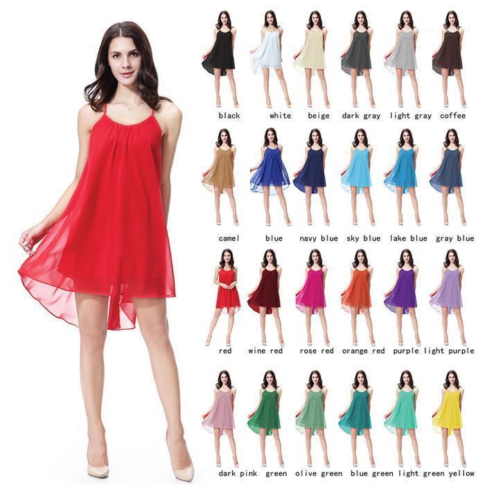 Strapse Kleid reizvolles Backless Solid Color lose beiläufige Kleid Famale Kleidung Frauen Chiffon