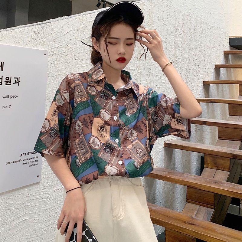 Yd689 disegno Hong Kong a maniche corte 2020 nuova estate 9KfRi nicchia tutto-fiammifero delle donne allentate stampato camicia stile