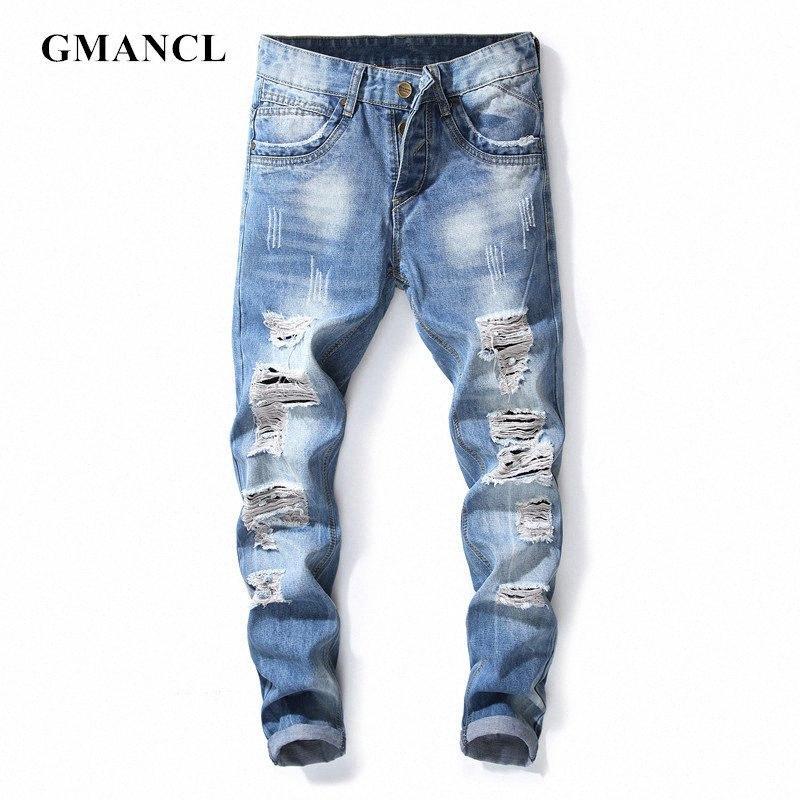 Мужчины Streetwear Хип-хоп Разорванные синие колена отверстия Нищий Узкие джинсы Мода 100% хлопок Slim Fit Повседневный Joggers джинсовые брюки bc2u #