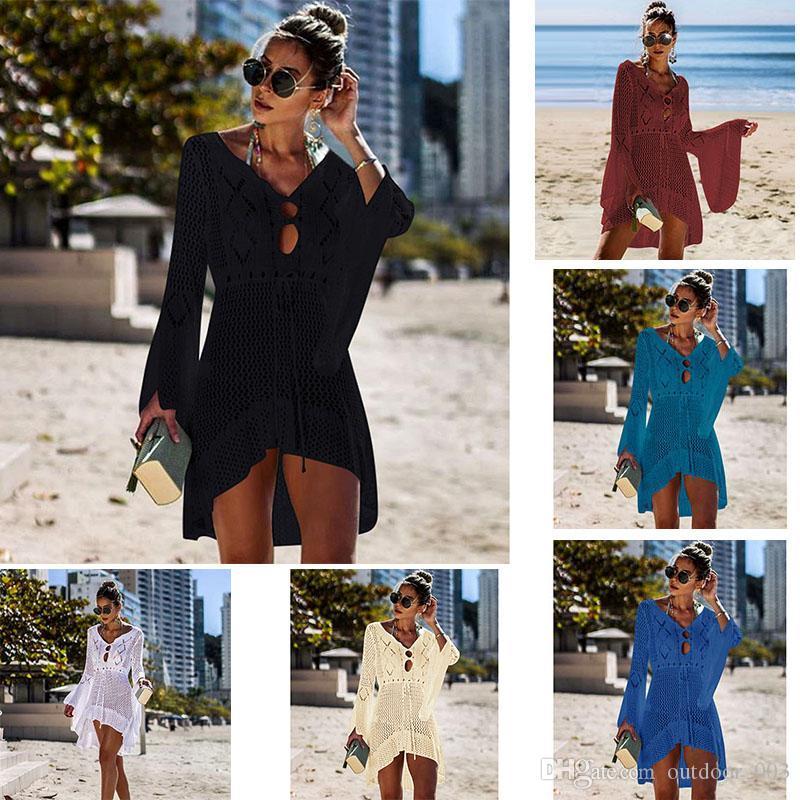 New Sexy Bluse Bikini Weiblicher Badeanzug Bluse Strand-Badeanzug-Strick Swimwear Mesh-Strand-Rock-lange Mantel-Roben