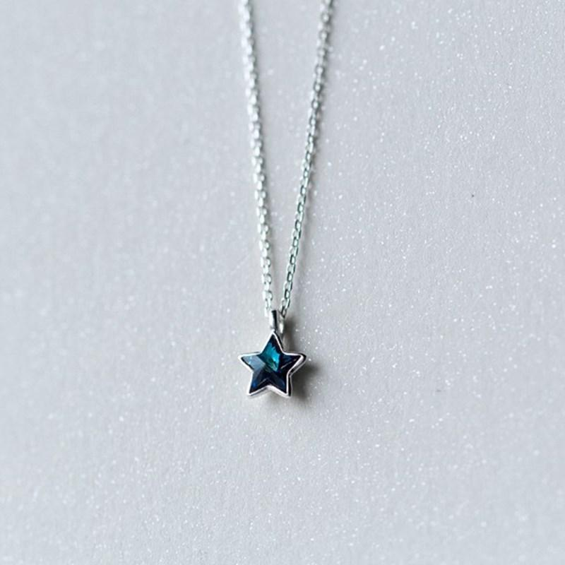 Hot Selling real 925 sterling silver small pendant five star five-pointed necklace with blue rhinestone for men women jewelry