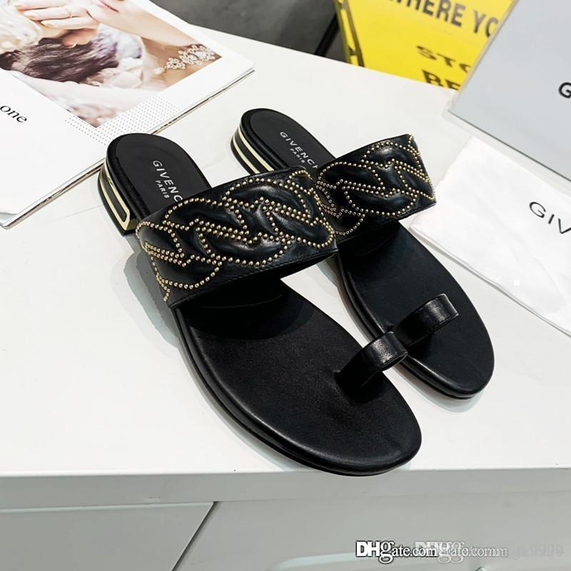 Neue Frauen-Sandalen aus Leder Luxus-Designer-Schuhe Flip-Flops beiläufige Art und Weise Lederschuhe Top-Qualität Größe 35-42