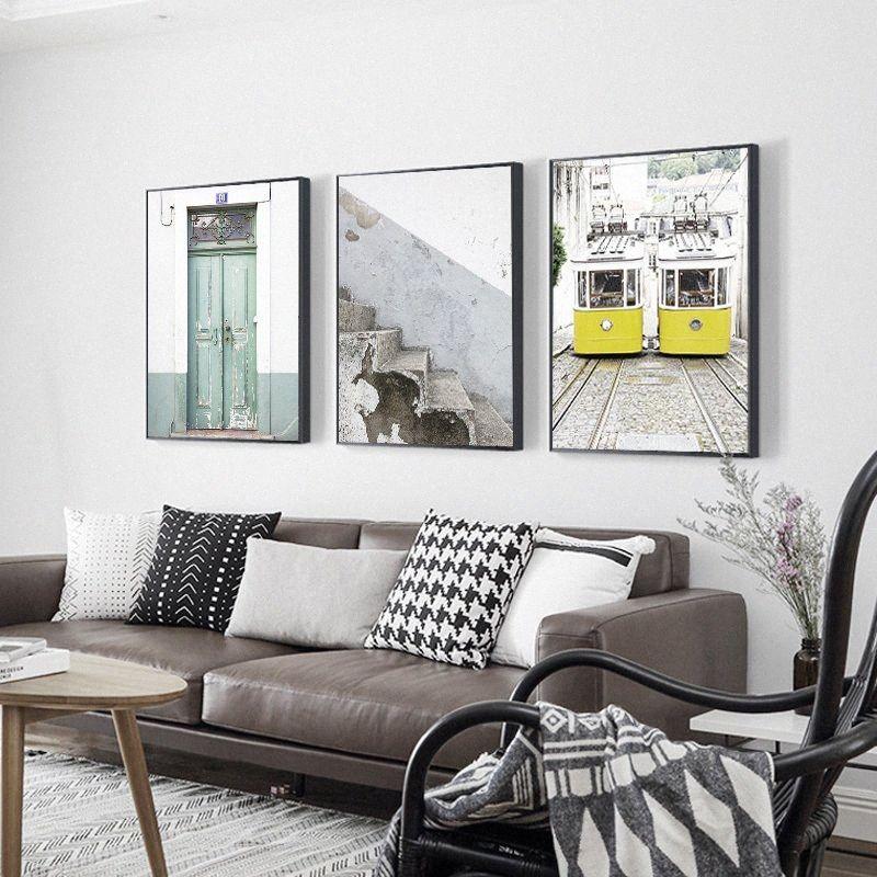 Imprimir paisagem lona impressão Nordic Decoração Escadas velhas Verde Porta de madeira Yellow Bus Wall Art pintura retrato Home Decor lhiT #
