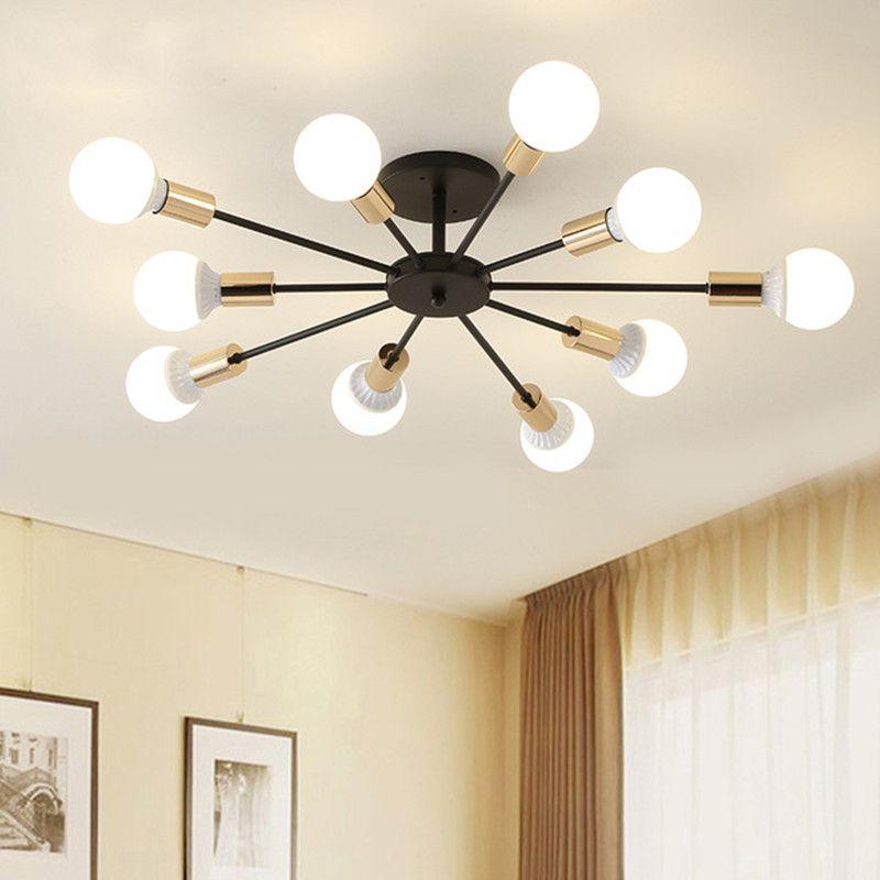 85-265V E27 LED Ceiling Lights Retro LED Chandeliers Industrial Edison 6 8 10 Lights Chandelier Fixture White Not Included Bulb