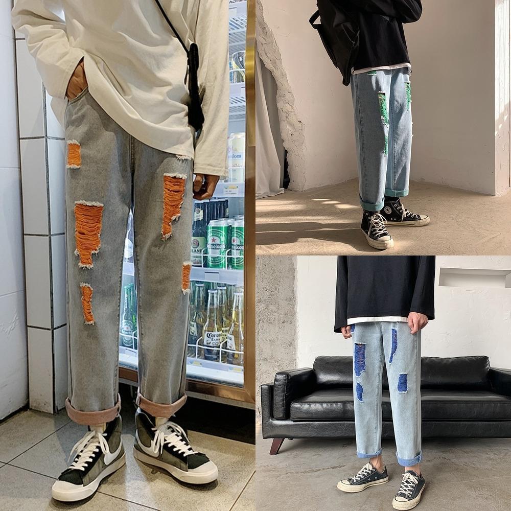 lLVb8 été déchiré couleur lâche des hommes neuf points mendiant pantalon contraste neuf points jeans papa jean droit et des hommes