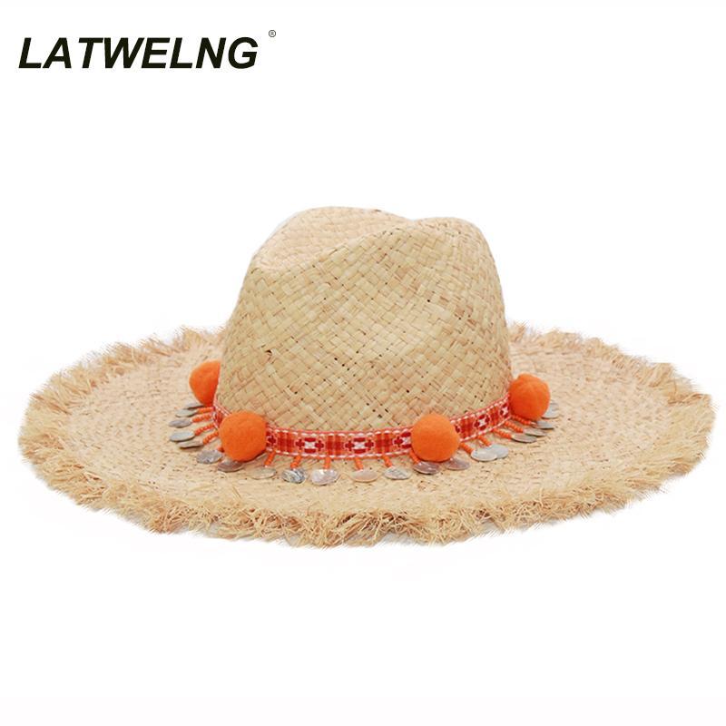 Latwelng Marca Moda Tassel Lantejoulas chapéus da praia Feminino férias Panamá Ráfia Hat Jazz Bohemia Verão Straw Sun Hat S1122