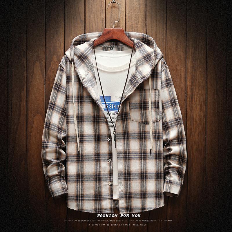 HIP HOP Streetwear Plaid Casual shirt Homens manga comprida de alta qualidade 2.020 solto com capuz