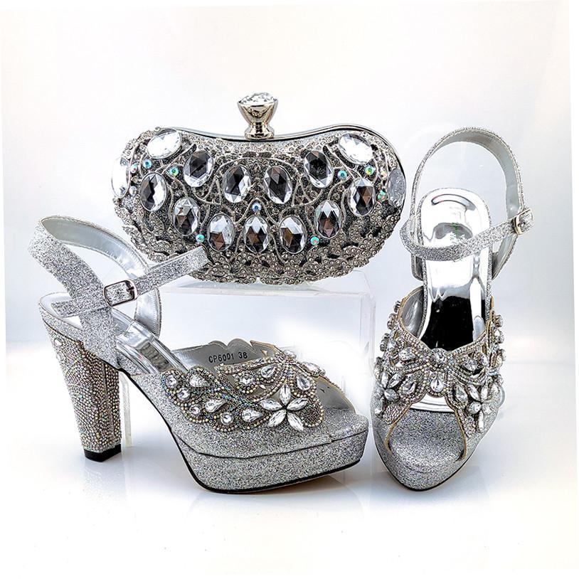 bombas de las mujeres plata de la venta caliente y sistema de bolsa con zapatos de estilo africano cristal de gran partido bolso para CP6001 vestido, 11 cm de tacón