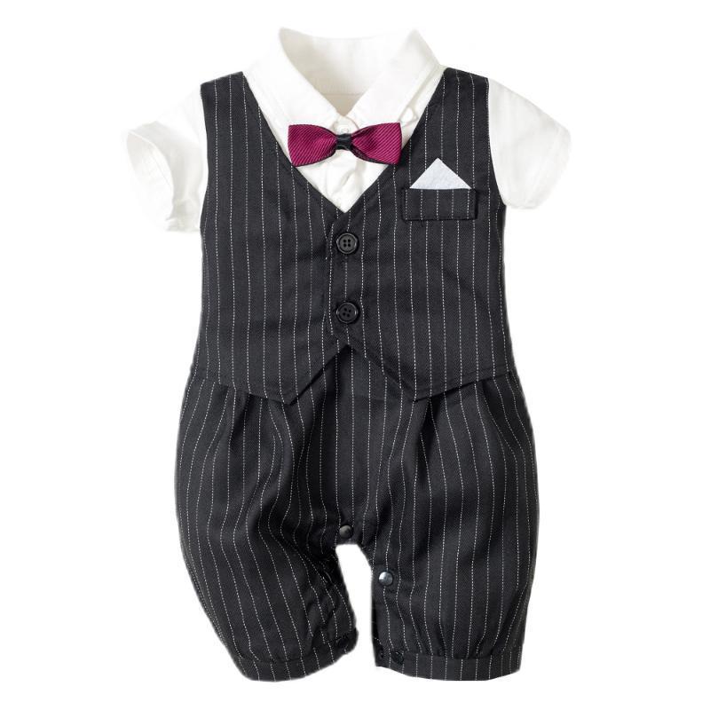 Neugeborene Jungen-Fliege Outfit Sets Formal Strampler Overall für Baby-Kleidung schwarze gestreifte Hochzeit formales Kleid onesis Fotografie