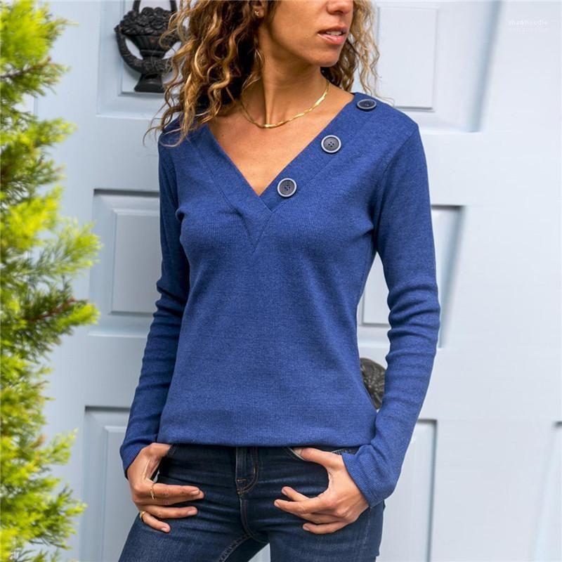 Damen-T-Shirts mit Knopf Panelled Fest Farbe Frauen Tops Frühling Damenmode mit tiefer V-Ausschnitt Langarm Sexy