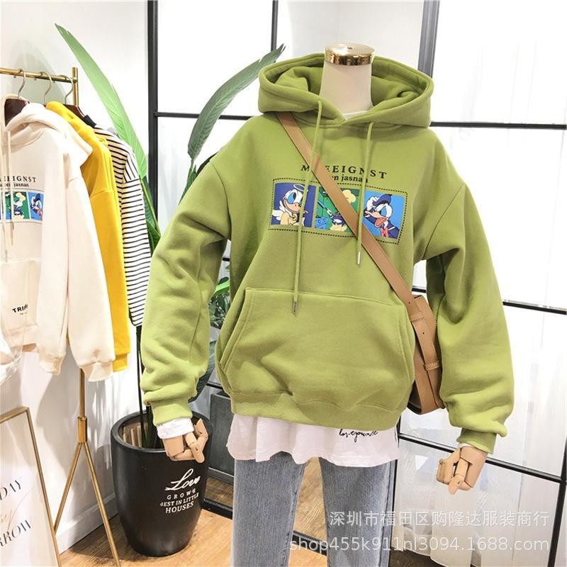 chic stampato incappucciato allentato stile coreano 2020 autunno e l'inverno studente marea Harajuku BF maglione cappotto delle donne cappotto lungo maglia manica Hgvlx H