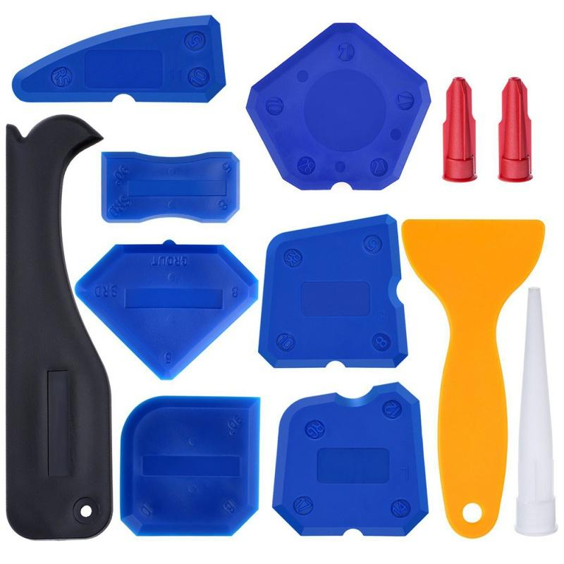 12pcs/set Silicone Glass Cement Scraper Floor Tile Cleaner Surface Residual Glue Spatula Mini Handmade Tools Set