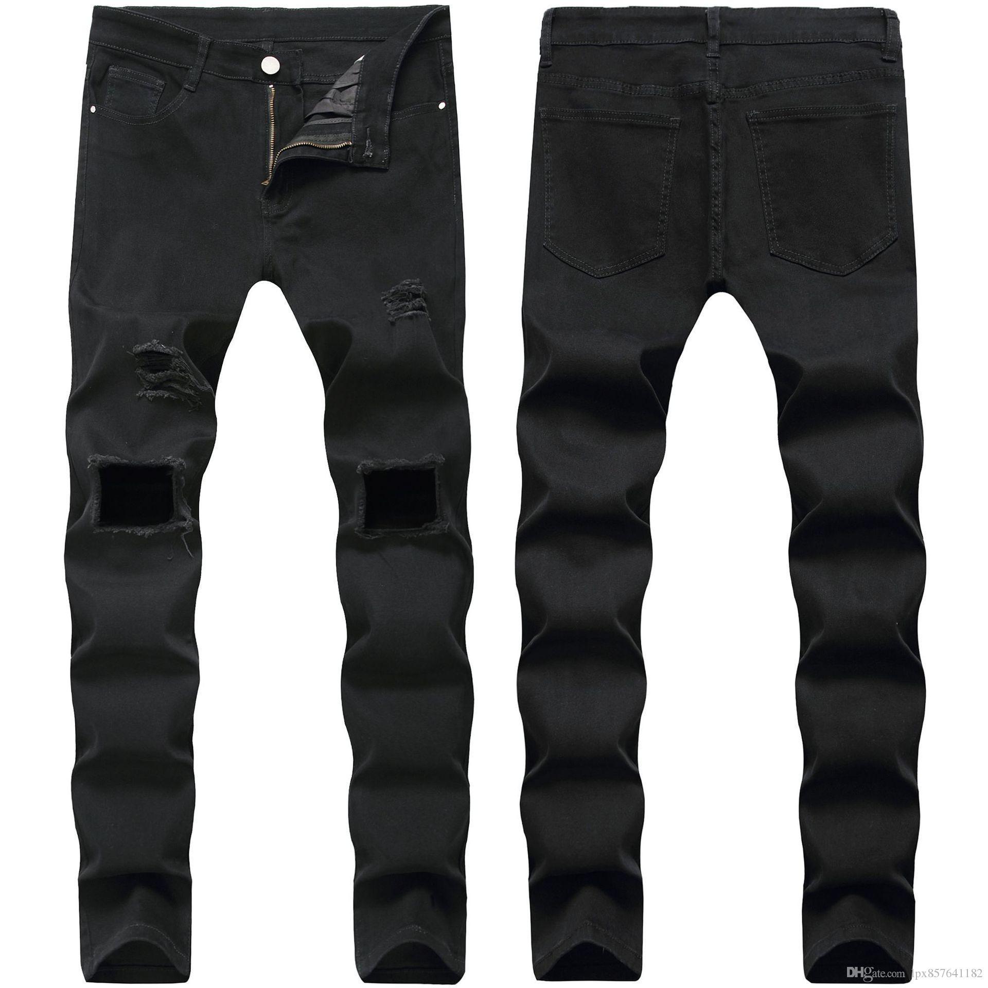 Bonne qualité Mens Ripped Skinny Denim droite Slim Fit élastiques Biker Jeans Pantalons longs Pantalons élégant droites Jeans Slim Fit