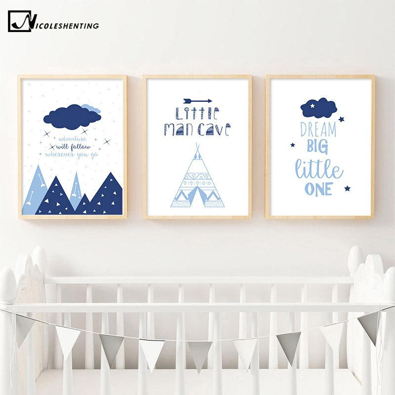Cartoon Child Poster Little Man Cave Nursery Quote Print Baby Boy Wall Art Canvas Painting Nordic Kid Bedroom Decoration Picture