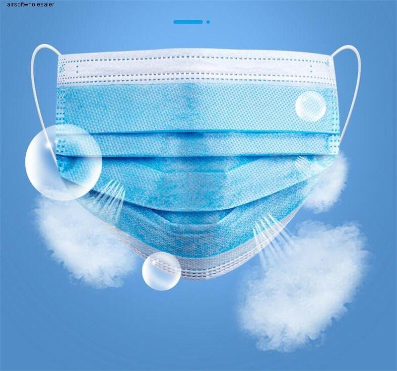 Máscara azul de tres capas Humo DustFine Pm 2.5 Aire FilterPollen SafetyBUA1