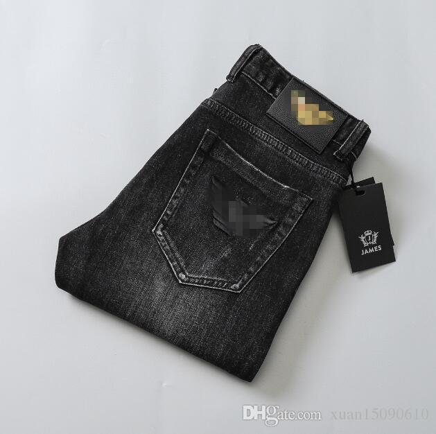 2020 Sonbahar / Koreli marka, pamuk streç, ince-fit, işlemeli küçük ayak kış kalitesi erkek kot, moda pantolon