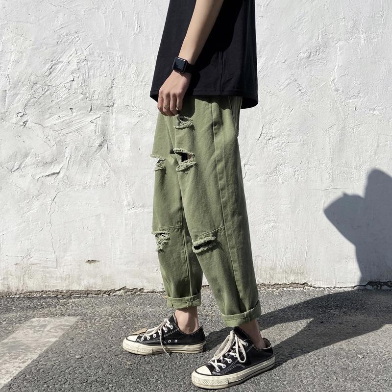 Мужские 2020 новые летние мужские и брюки и джинсы рваные джинсы потерять случайные щиколоток штаны нейтральные пары брюки QT2iv