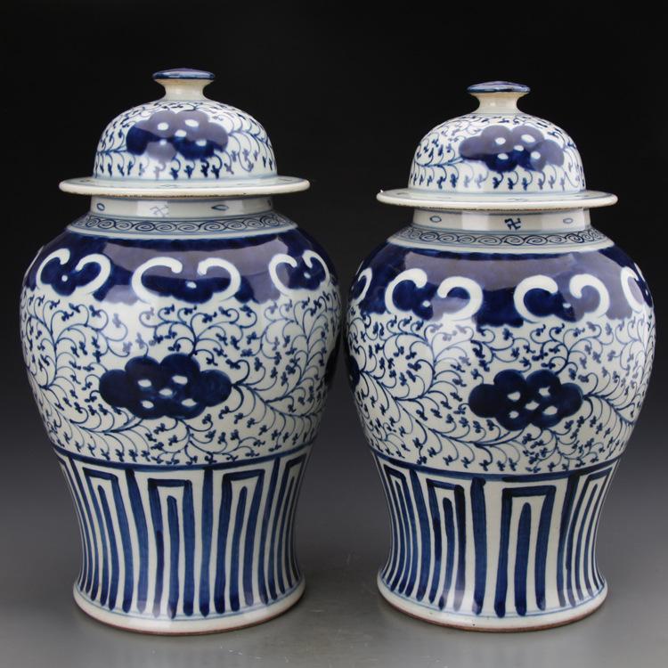 Dipinto a mano blu e bianco Lotus Filiali tempio antico vaso in porcellana Artigianato collezione di porcellane di ceramica vaso di zenzero vaso