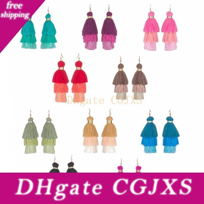 Fashion Tassel Earrings Wool Multi -Layered Earrings Bohemian Long Earrings Jewelry For Women Girls Wholesale Free Shipping D923s