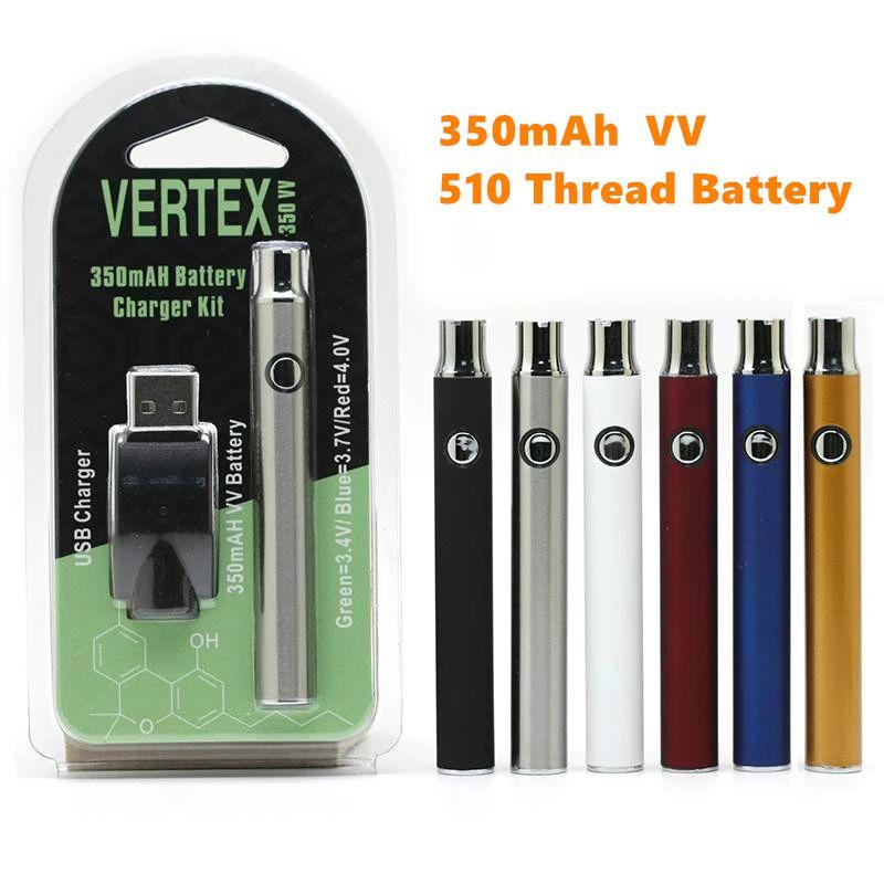 Vertex VV Preriscaldare Vape batteria 350mAh Co2 olio vaporizzatore O Pen 510 Vape penna di preriscaldamento delle batterie Per Spesso Olio Atomizer Cartridge Ce3 EGO
