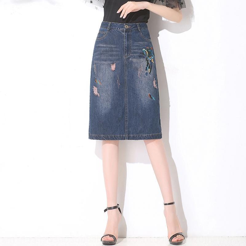 h9swj Mode bestickt Knopf Denim des Sommers der Frauen Allgleiches Jeansrock Mitte Rock Knopf Reißverschluss hinten geteilte Hüfte