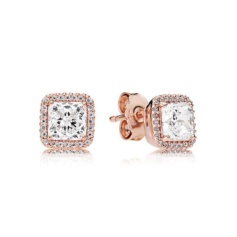 925 Silver Piazza Grande CZ Orecchini di diamanti misura i monili nozze oro rosa placcato oro Orecchino Donne Accessori Orecchini