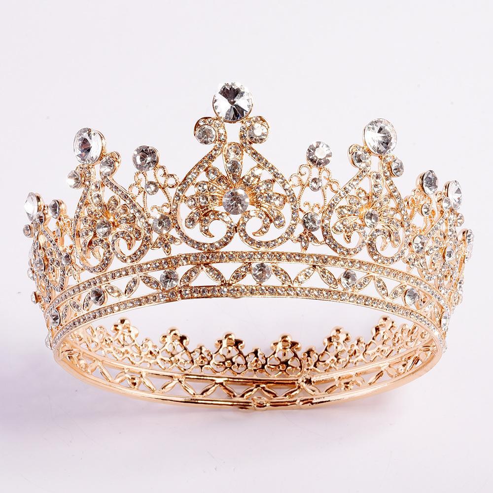 2020 Yeni Bling Luxury Kristalleri Düğün Taç Gümüş Altın Yapay elmas Prenses Kraliçe Gelin Tiara Taç Saç Aksesuarları Ucuz Kaliteli