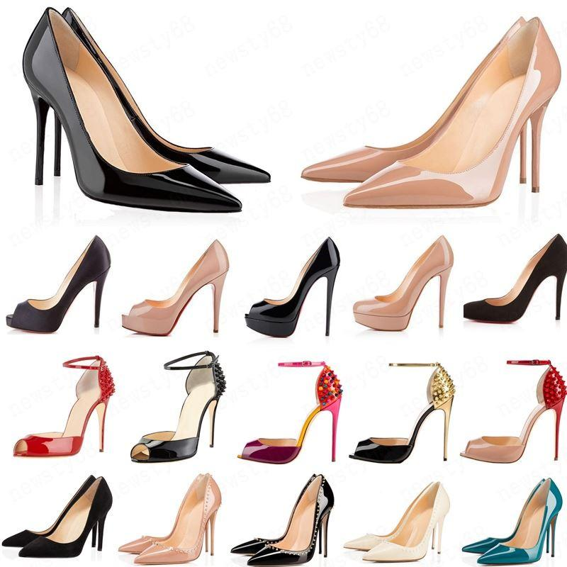 2020 Bottoms rosso Tacchi alti di modo per le donne Party Wedding Triple Black Nude Giallo Giallo Glittello Scintillio Spikes Punte Punte Pompe Dress Shoes Shoes