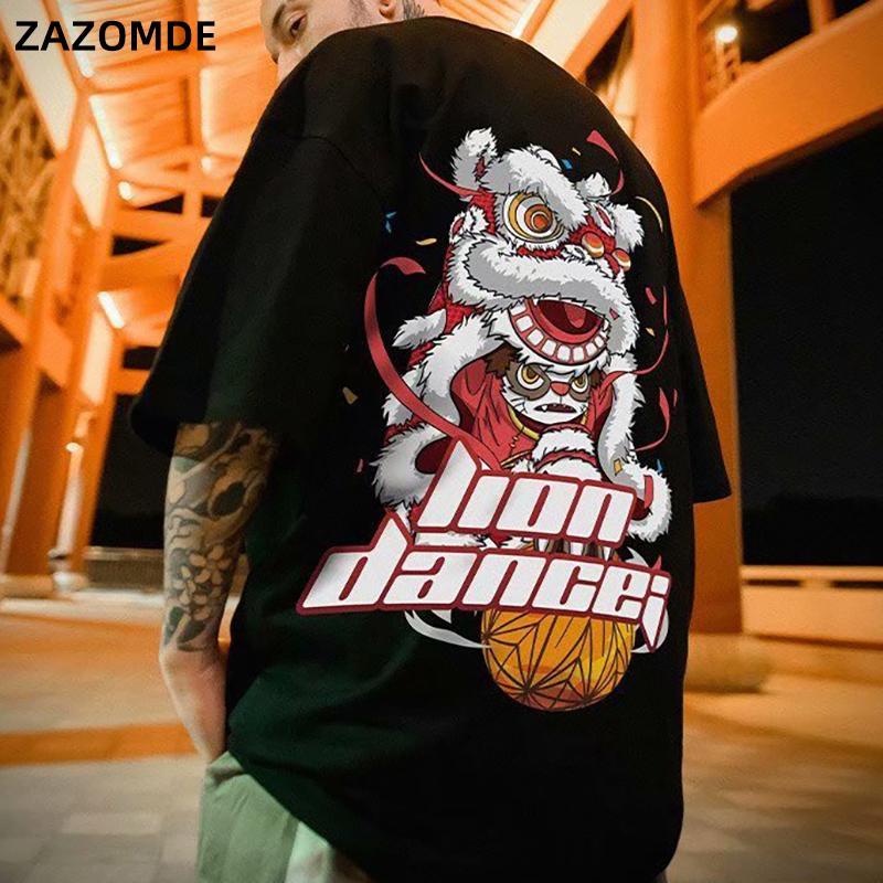 Erkek T-Shirt 2021 Aslan Dans Baskı Gelgit Marka Hip-Hop Yarım Kollu Tee Çin Tarzı Adam Yaz Sokak Moda Rahat Pamuk T-shirt