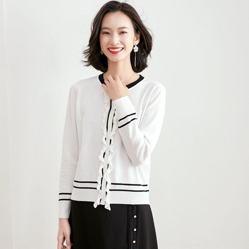 2020 Frühherbst neue Kleidung der Frauen koreanische Art lose Kontrastfarbe Art und Weise lange Pullover Pullover Hülse aus Holz Ohr grundiert Pullovern