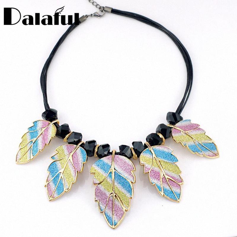 Chic Multicolor Foglia perline corda catena cocktail nuziale Maxi pendenti delle collane girocollo Normativa collana delle donne D01801 rLTN #