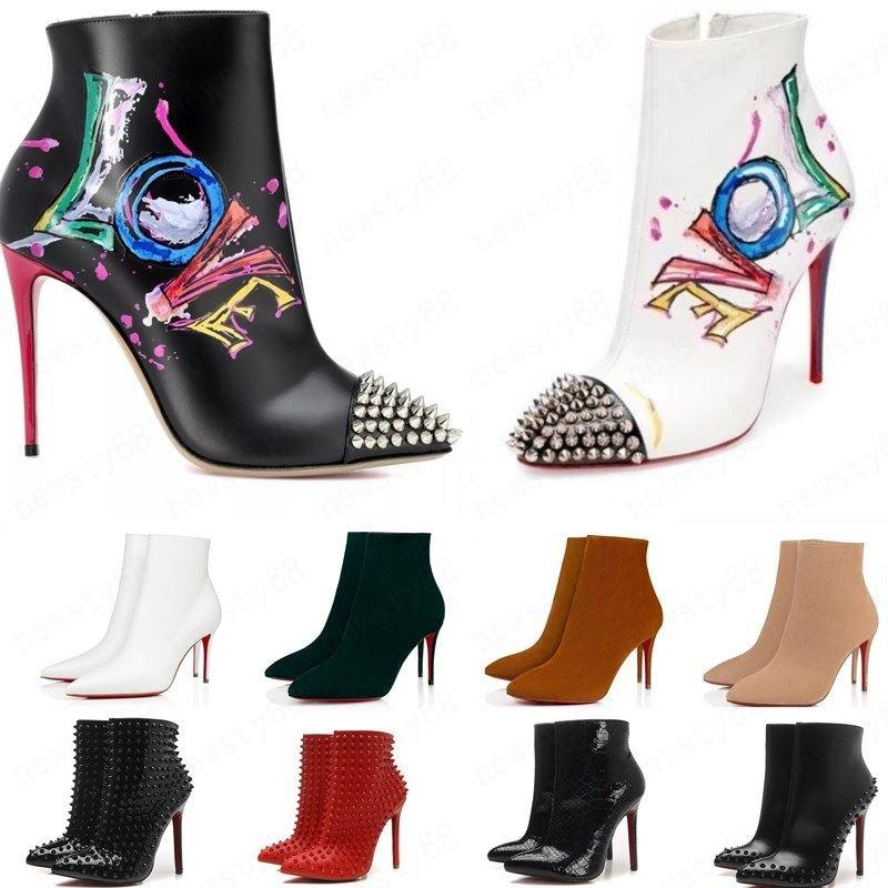 hot 2020 [Box Original] Womens altos New Sexy Heels 100mm bota vermelha Fundo de couro do tornozelo Inverno real Bombas Paris Botas Tamanho 35-41