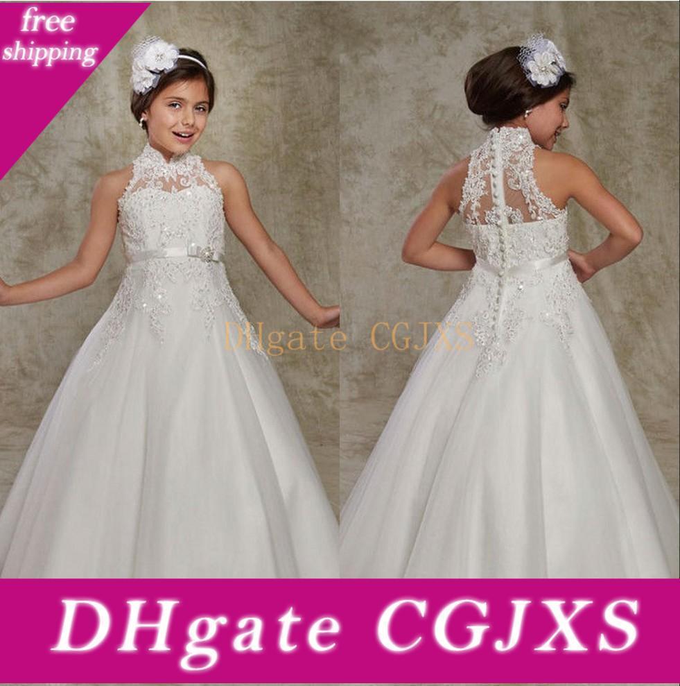 Vestido de niña vestido blanco de cuello alto encaje de tul Una flor línea Applique del marco del arco niñas desfile de vestidos de fiesta de cumpleaños
