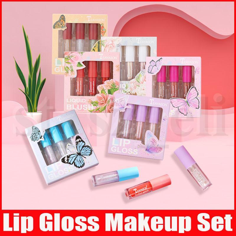 Teayason Lip Makeup Liquid Lipstick Sets 3 Colors Lip Gloss Eyeshadow highlighter Blush Plumper Plumping Gloss Moisturizer 6 Styles