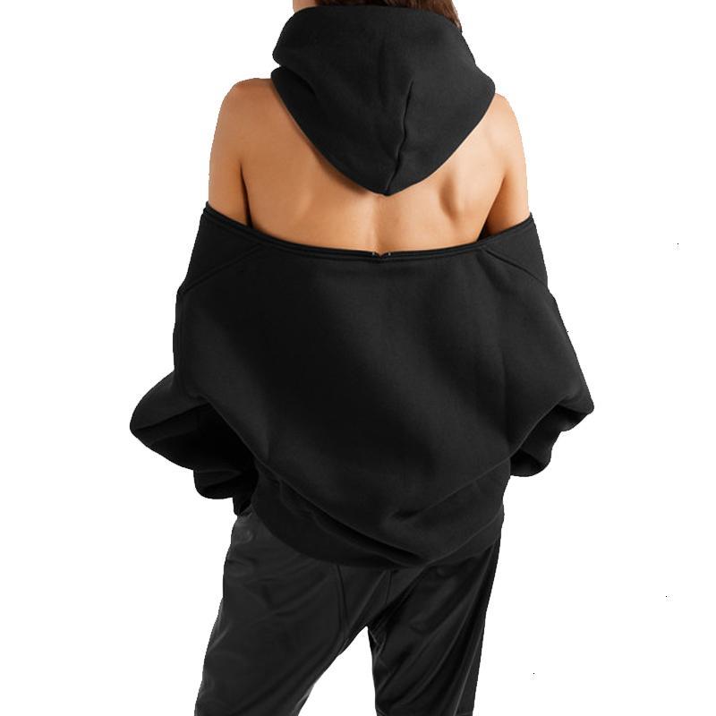 TWOTWINSTYLE Повседневный блудниц Толстовки с капюшоном с длинным рукавом молния Backless плеча Толстовка Женский 2020 Мода CX200814