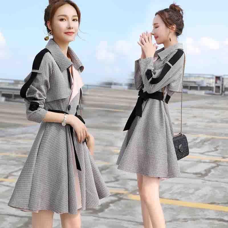 nT8QI Cs9Ur 2020 женский стиль Новый корейский тонкий пригодный для похудения темперамент длинный рукав ветровка пальто стиль птица юбка весна маленький windbreake