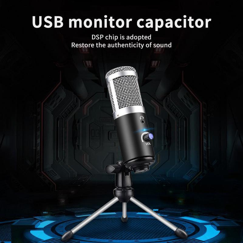 Novo Metal USB Condensador Gravação Microfone do estúdio Transmissão microfone para YouTube Video Skype Conversar Gaming Karaoke Mic