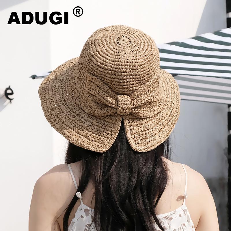 ADUGI Соломенная шляпка Женский Summer Sun Hat Малый Вдоль крюка руки лук японский складной Holiday Beach дышащая Sun