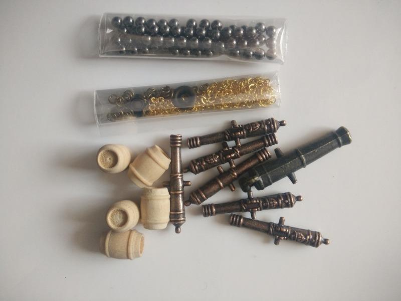 Échelle 1/100 Halcon Modèle Accessoires de navire Kit de canon classique + ancrage alliage + chaîne d'ancrage en laiton + boule de canon + baril en bois