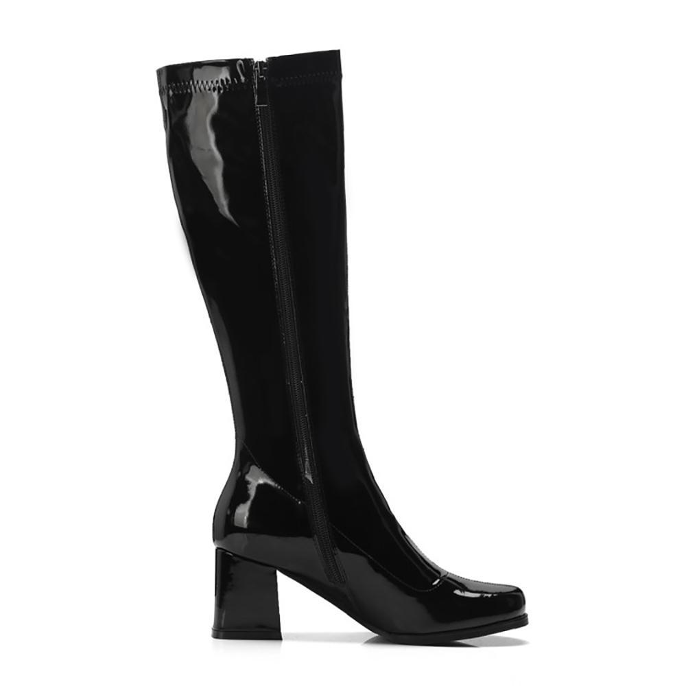Дизайн бренда площади Toe колено высокие сапоги женщин Мода Зеркало Кожа Толстый каблук Длинные сапоги зимы женщин Новые ботинки PurpleMultifunction