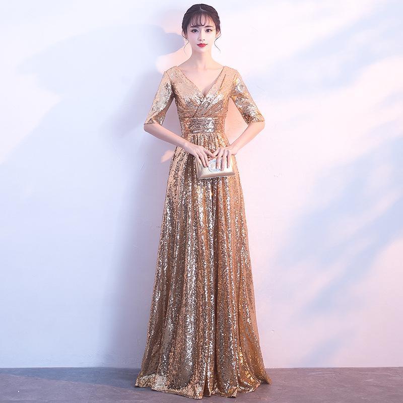 Tradições Mulheres vestido de casamento elegante Qipao Sexy Long Chinese Vestidos ouro Cheongsam vestido de noiva China traje Robe