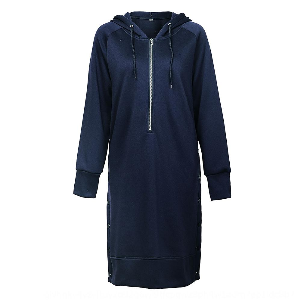 Donne cappuccio a maniche lunghe lungo dividere speciale quadrilatero maglione forcella maglione Top top delle donne forcella sweatercraft Fk25B