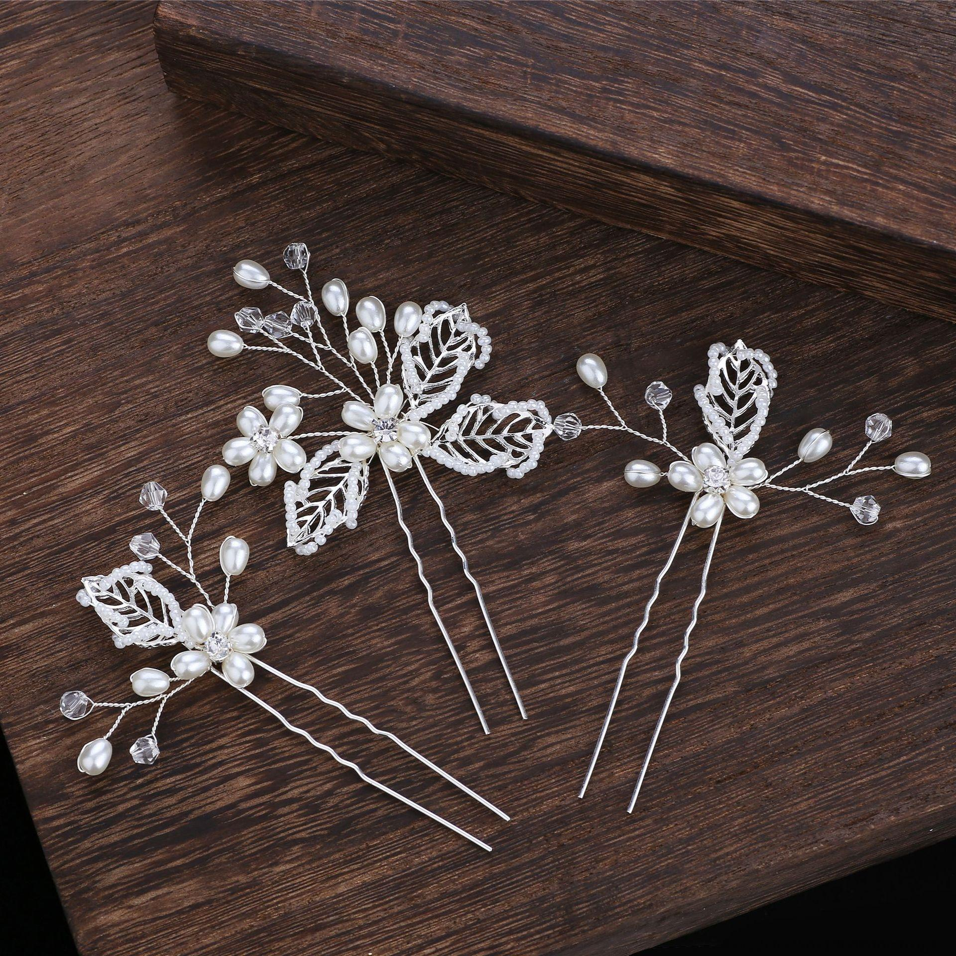 jKTol New Braut Hochzeit handgemachte Hairpin-Perlen Kopfschmuck Hohl aus Metall Blatt Perle Hairpin dreiteiliges Kopfschmuck-Set