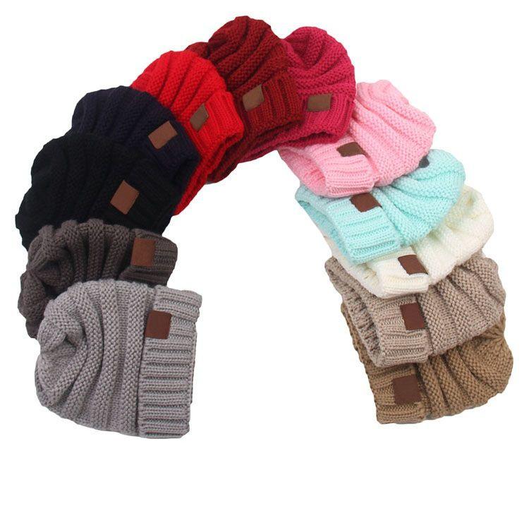 Moda para niños sombrero de lana sombrero de punto bebé simple engrosamiento con capucha sombrero cálido