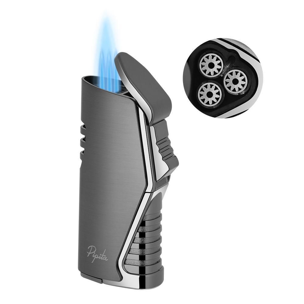PIPITA 방풍 시가 토치 라이터 트리플 펀치 3 토치 제트 푸른 불꽃 리필 부탄 금속 라이터
