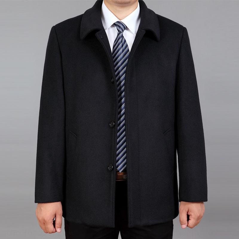 New Men's mid-length plus Windbreaker wool Wool plus size middle-aged woolen trench coat woolen coat for men