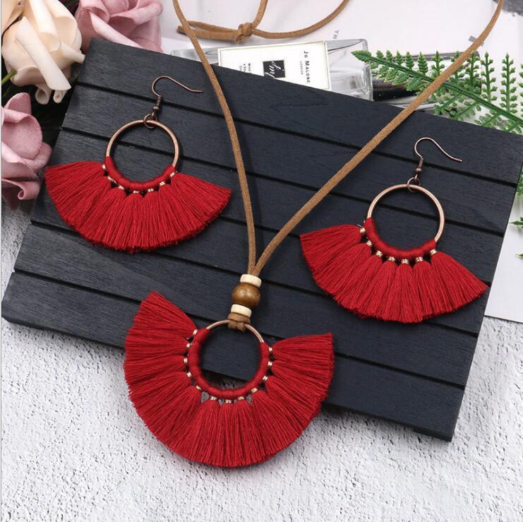 Quaste Ohrringe Halskette Set handgemachte Mehrfarben Bohemian Frauen Ethnische Kreis Schmuck-Set GD503