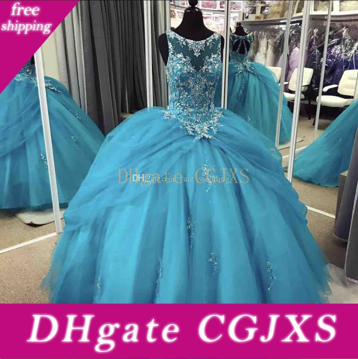 Neue preiswerte Blaue Mädchen-Festzug-Kleider Jewel Ausschnitt wulstige Gerichts-Zug-Tulle-Blumen-Mädchen-Kleid-Kinder tragen Geburtstag Kommunion Kleid