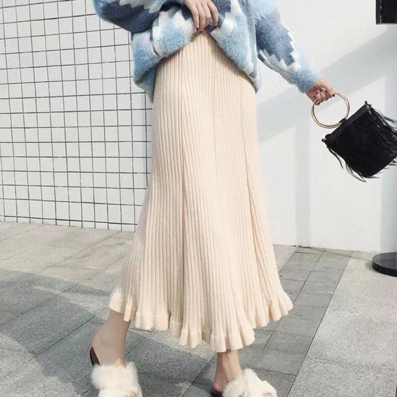 YXhyX Autumn and Winter thick knitted skirt 2020 new mid-length Autumn and winter knitting style wool high waist pleated large skirt for wom