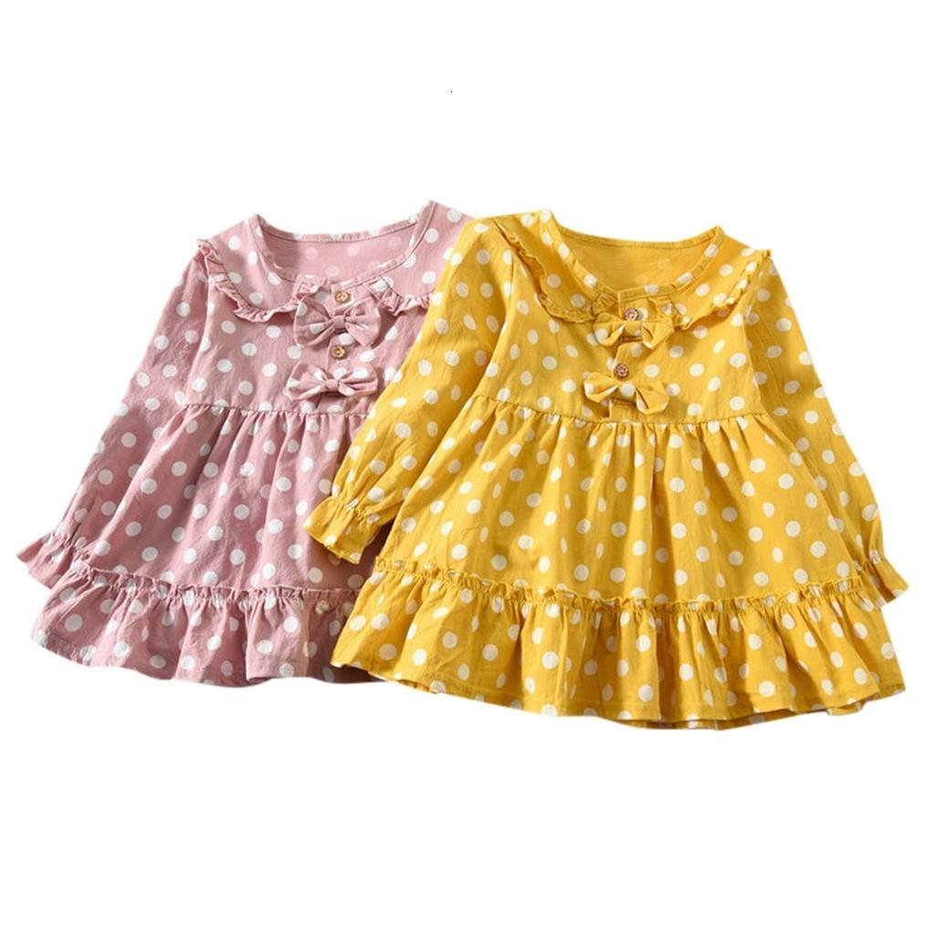 Clearance Excelent New summer Dress Mesh Girls Toddler Baby Kids Girls Long Sleeve Ruched Dot Double Bow Dressed Clothes Z0205